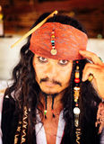 A Johnny Depp imitator dressed as Captain Jack Sparrow Royalty Free Stock Images
