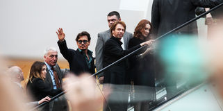 Johnny Depp and Jerry Bruckheimer. May 12, 2011 - Westfield, London - Pirates of the Caribbean: On Stranger Tides, UK premiere Stock Photo