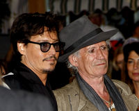 Johnny Depp and Keith Richards. At the Los Angeles premiere of 'Pirates Of The Caribbean: On Stranger Tides' held at the Disneyland in Anaheim on May 7, 2011 Royalty Free Stock Photography