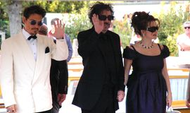Johnny depp and tim burton. Johnny depp, tim burton and  with his wife Helena Bonham Carter Stock Photography