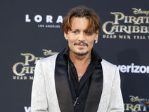 Johnny Depp. At the U.S. premiere of `Pirates Of The Caribbean: Dead Men Tell No Tales` held at the Dolby Theatre in Hollywood, USA on May 18, 2017 Stock Images