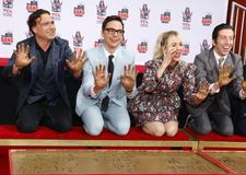 Johnny Galecki, Jim Parsons, Kaley Cuoco and Simon Helberg. At the handprints ceremony for `The Big Bang Theory` held at the TCL Chinese Theatre IMAX in royalty free stock photography