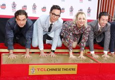 Johnny Galecki, Jim Parsons, Kaley Cuoco and Simon Helberg. At the handprints ceremony for `The Big Bang Theory` held at the TCL Chinese Theatre IMAX in royalty free stock photo