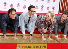 Johnny Galecki, Jim Parsons, Kaley Cuoco and Simon Helberg. At the handprints ceremony for `The Big Bang Theory` held at the TCL Chinese Theatre IMAX in stock photography