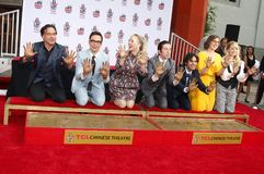 Johnny Galecki, Jim Parsons, Kaley Cuoco, Simon Helberg, Kunal Nayyar, Mayim Bialik and Melissa Rauch. At the handprints ceremony for `The Big Bang Theory` held royalty free stock images