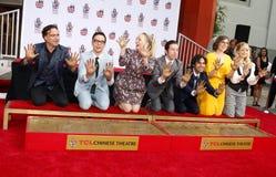 Johnny Galecki, Jim Parsons, Kaley Cuoco, Simon Helberg, Kunal Nayyar, Mayim Bialik and Melissa Rauch. At the handprints ceremony for `The Big Bang Theory` held royalty free stock photos