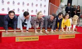Johnny Galecki, Jim Parsons, Kaley Cuoco, Simon Helberg, Kunal Nayyar, Mayim Bialik and Melissa Rauch. At the handprints ceremony for `The Big Bang Theory` held stock photography