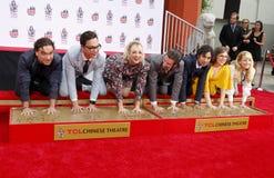 Johnny Galecki, Jim Parsons, Kaley Cuoco, Simon Helberg, Kunal Nayyar, Mayim Bialik and Melissa Rauch. At the handprints ceremony for `The Big Bang Theory` held royalty free stock image