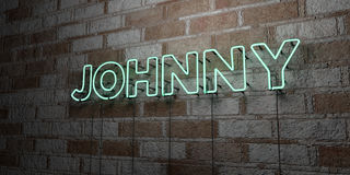 JOHNNY - Glowing Neon Sign on stonework wall - 3D rendered royalty free stock illustration Royalty Free Stock Photo