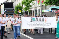 Johnny.ie au défilé le 26 juin 20 de fierté de Dublin LGBT Photo stock