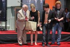 Johnny lån, Daniel Radcliffe, Emma Watson, Rupert Grint, Daniel Radcliff Arkivbild