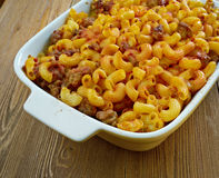 Johnny Marzetti. Casserole. Midwestern Italian American pasta dish consisting of noodles, cheese, ground beef, and a tomato sauce Royalty Free Stock Photo