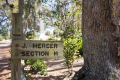 Johnny Mercer Gravesite Sign in Bonaventure Cemetery Royalty Free Stock Photos