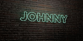 JOHNNY -Realistic Neon Sign on Brick Wall background - 3D rendered royalty free stock image Royalty Free Stock Photography