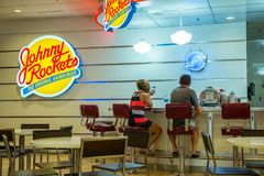 Johnny Rockets Restaurant in the Flamingo Hilton. Hotel & resort in Las Vegas, Nevada Royalty Free Stock Image