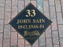 Johnny Sain Hall of Fame Plaque. Atlanta Braves pitcher Johnny Sain's plaque outside the entrance the Braves Museum Royalty Free Stock Images