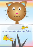 Cat Wanna Fish_eps Stock Photo