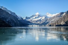 Johns Hopkins Glacier in the Glacier Bay National Park and Preserve, Alaska royalty free stock photography