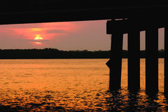 Johns Pass at Sunrise. Johns Pass Bridge at Sunrise. Madeira Beach Florida Stock Photography