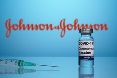 Free Johnson And Johnson Covid Vaccine Logo With Syringe For Inoculation Royalty Free Stock Photos - 216427858