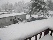 Johnson City - покрытый Снег парк трейлера Стоковые Изображения RF