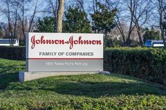 Johnson & Johnson logo in front of one of their office buildings stock photo