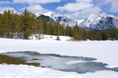 Johnson Lake frozen over Royalty Free Stock Image