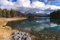 Johnson Lake is situated close to Banff town royalty free stock photo