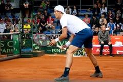 Johnson Steve som spelar i matchen mot SERBIEN, Davis Cup 2018, Nis, Royaltyfria Bilder