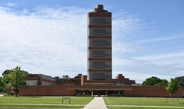Johnson Wax Headquarters and Research Tower. This is a Summer picture of the S.C. Johnson Wax World Headquarters Administration Building and research tower royalty free stock images