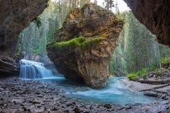 Johnston Canyon grotta i vårsäsongen med vattenfall, Johnston Canyon Trail, Alberta, Kanada fotografering för bildbyråer