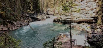Johnston Canyon Trail, Upper and Lower Falls, Banff National Park, Canadian Rockies, Alberta, Canada Stock Photo