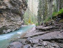 Johnston Canyon Trail, ober und niedriger Fälle, Nationalpark Banffs, Kanadier Rocky Mountains, Alberta, Kanada lizenzfreies stockbild