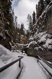Johnston Canyon Trail Winter, Banff Lizenzfreie Stockbilder