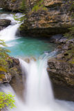 Johnston Canyon Waterfall in Banff National Park stock photos