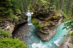 Johnston Canyon. And waterfalls, Alberta, Canada royalty free stock photo