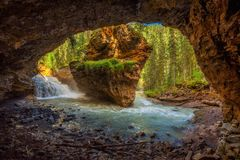 Johnston Creek in Canada photographed from a cave Stock Images