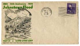 Johnstown, Pennsylvania, de V.S. - 31 MEI 1939: De historische envelop van de V.S.: dekking met cachet vijftigste verjaardag 1889 stock fotografie