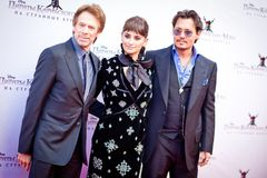 Johny Depp, Penelope Cruz and Jerry Bruckheimer Stock Image