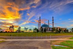 JOHOR BAHRU,Malaysia- 19 October 2017 : The Long Exposure Pictur. E Of Sultan Iskandar mosque With The Golden Sunset As A Background Royalty Free Stock Photography