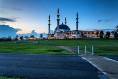 Johor Bahru, Malaysia - October 10 2017 : Mosque of Sultan Iskan. Dar view during blue hour, Mosque Of Sultan Iskandar located at Bandar Dato Onn Stock Image