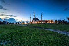 Johor Bahru, Malaysia - October 10 2017 : Mosque of Sultan Iskan. Dar view during blue hour, Mosque Of Sultan Iskandar located at Bandar Dato Onn Royalty Free Stock Photo