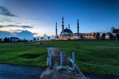 Johor Bahru, Malaysia - October 10 2017 : Mosque of Sultan Iskan. Dar view during blue hour, Mosque Of Sultan Iskandar located at Bandar Dato Onn Stock Photos