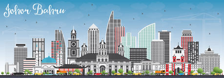 Johor Bahru Malaysia Skyline with Gray Buildings and Blue Sky. Royalty Free Stock Images