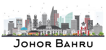Johor Bahru Malaysia Skyline with Gray Buildings Isolated on Whi Stock Images