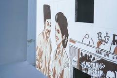 Johor Bahru, Maleisië - Februari 2019: Een de filmscène van P Ramlee het schilderen muurschildering, P Ramlee is een legendarisch stock foto