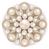 Joia do broche, elemento do projeto ornamenta do vintage da pérola Foto de Stock