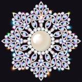 Joia do broche, elemento do projeto Ornam geométrico do vintage Imagens de Stock Royalty Free