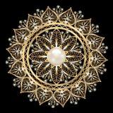Joia do broche, elemento do projeto Ornam geométrico do vintage Fotografia de Stock Royalty Free