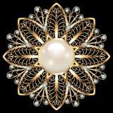 Joia do broche, elemento do projeto Ornam geométrico do vintage Imagem de Stock